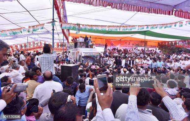 Former Chief Minister Bhupinder Singh Hooda during the JanKranti Rath Yatra Rally at Hodal Mandi on February 25 2018 in Palwal India
