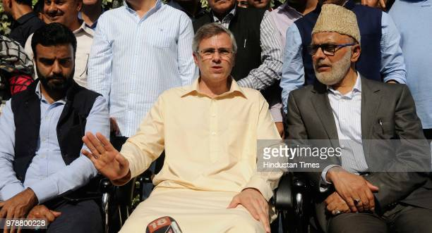 Former chief minister Jammu and Kashmir Omar Abdullah addressing a press conference at his residence on June 19 2018 in Srinagar India Jammu and...
