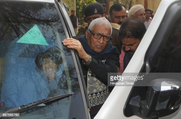 Former Chief Minister of Bihar Jagannath Mishra proceeding to appear before a special CBI court in a connection to the Fodder Scam case at Court...