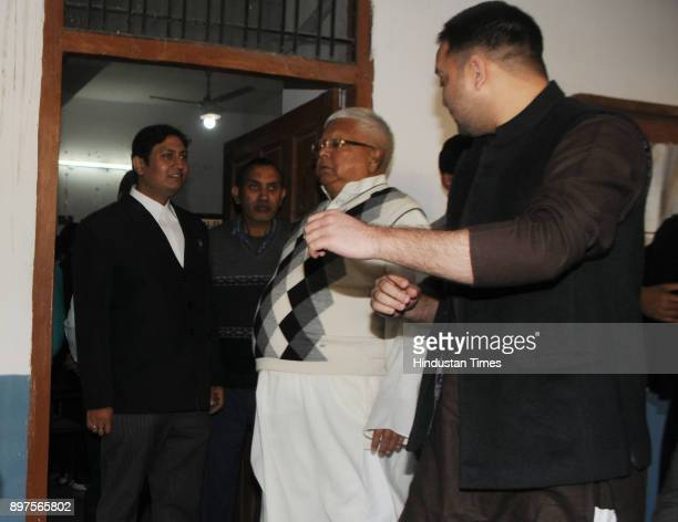 Former Chief Minister of Bihar Lalu Prasad proceeding to appear before a special CBI court in a connection to a Fodder Scam case at Court premises on...