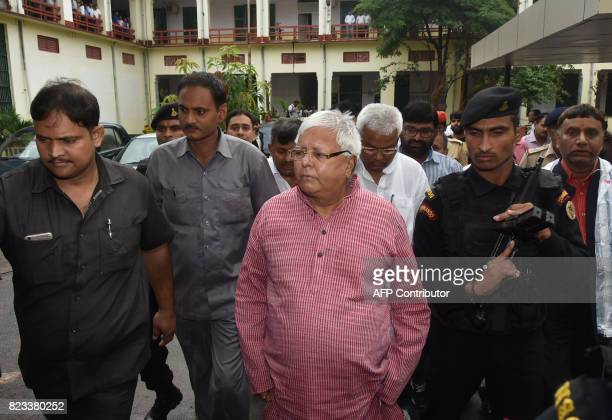 Former chief minister of Bihar state Lalu Prasad Yadav arrives to appear in court in Ranchi on July 27 2017 in connection with an ongoing corruption...