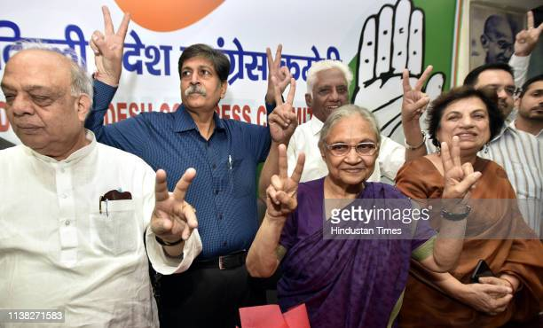 Former Chief Minister of Delhi and DPCC president Sheila Dikshit with other Leaders inaugurate the Control Room for the Lok Sabha elections at the...