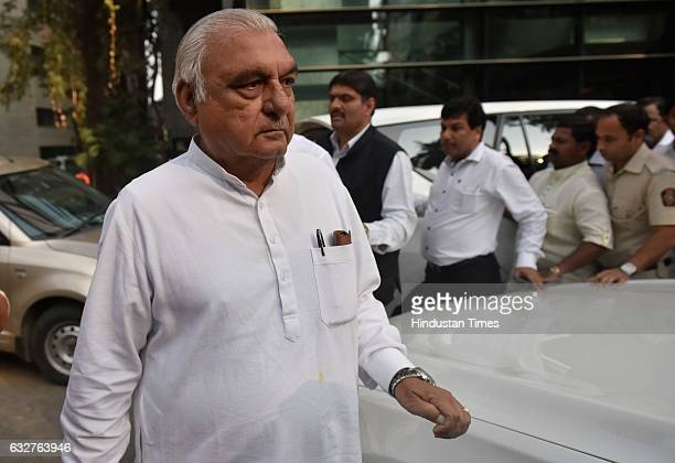 Former Chief Minister of Haryana Bhupinder Singh Hooda after the party internal meeting to take of the situation in view of the BMC polls at Garware...