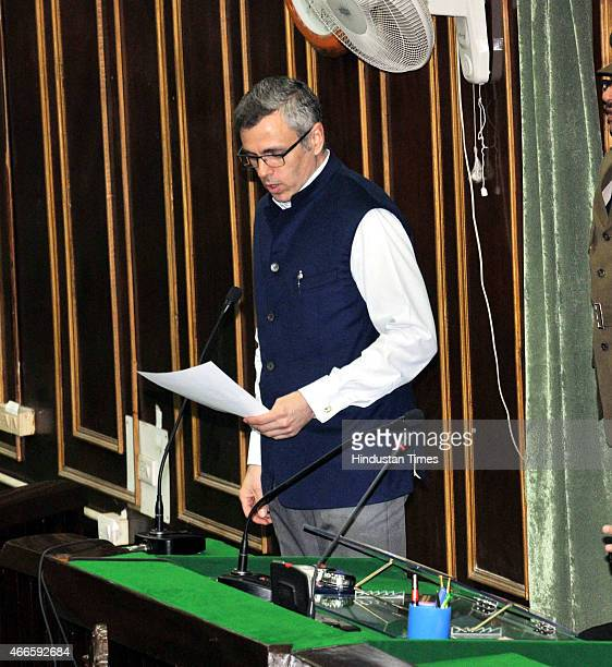Former Chief Minister of Jammu and Kashmir Omar Abdullah taking oath as MLA at civil secretariat on March 17 2015 in Jammu India