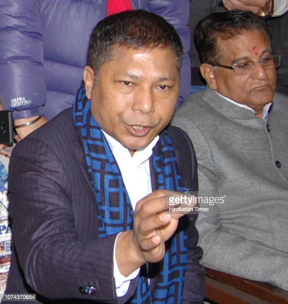 Former Chief Minister of Meghalaya Mukul Sangma and District Congress Committee President Jugal Kishore Sharma address a press conference on December...