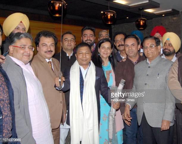 Former Chief Minister of Meghalaya Mukul Sangma Congress leader Navjot Kaur Sidhu District Congress Committee President Jugal Kishore Sharma and...