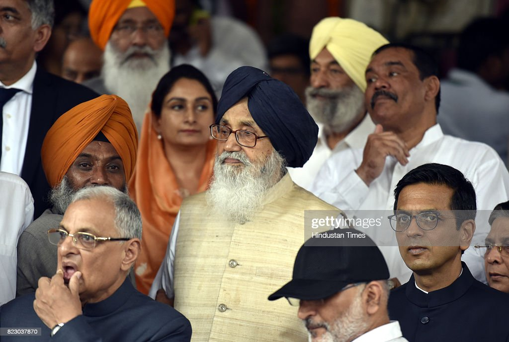Former Chief Minister of Punjab Prakash Singh Badal along with Harsimrat Kaur Badal after swearing in ceremony of the new president Ram Nath Kovind...