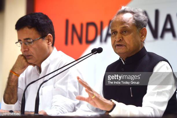 Former Chief Minister of Rajasthan Ashok Gehlot and Indian Politician Randeep Surjewala at the Congress Working Committee meeting in New Delhi