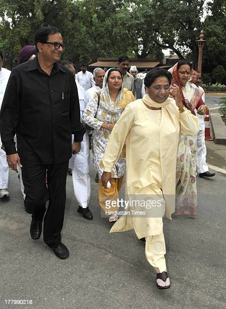 Former Chief Minister of Uttar Pradesh and BSP Chief Mayawati arrives to attend Parliament Monsoon Session on August 26 2013 in New Delhi India The...