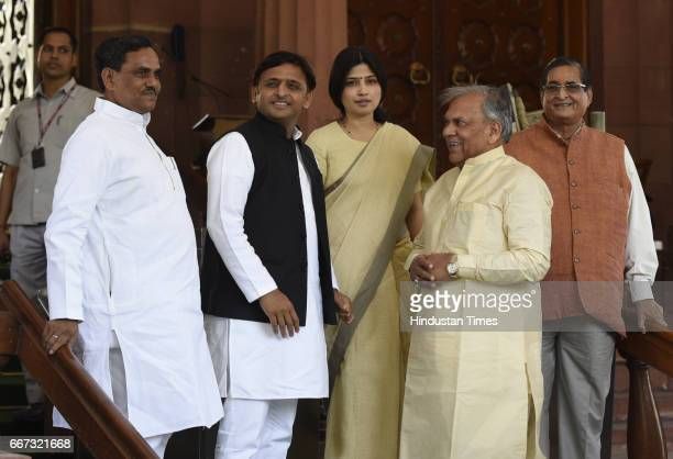 Former Chief Minister of Uttar Pradesh and President of Samajwadi Party Akhilesh Yadav with his wife Lok Sabha MP Dimple Yadav and others during the...