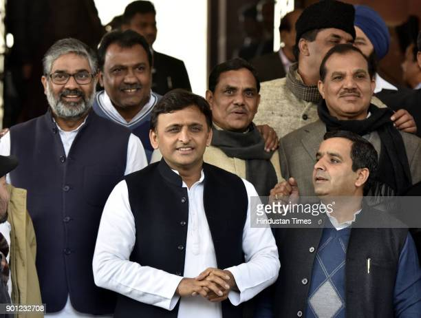 Former Chief Minister of Uttar Pradesh and President of the Samajwadi Party Akhilesh Yadav during the Parliament Winter Session on January 4 2018 in...