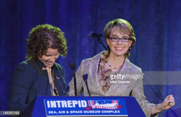 Former Chief of Staff for Gabrielle Giffords Pia Carusone and former United States Rep Gabrielle Giffords speak at Intrepid SeaAirSpace Museum on May...