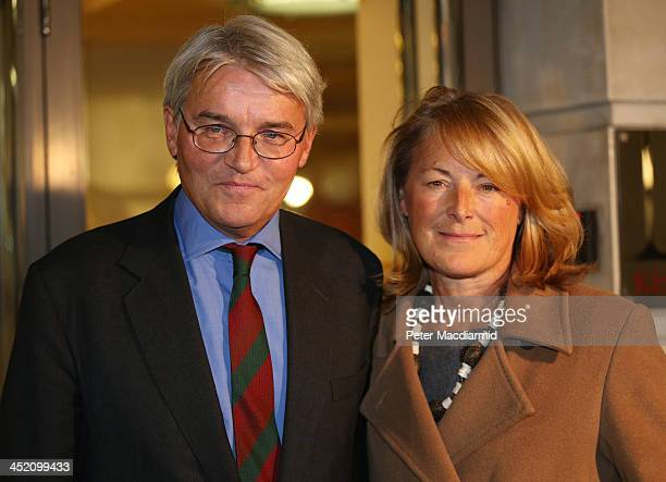 Former Chief Whip Andrew Mitchell stands with his wife Dr Sharon Bennett after speaking to reporters on November 26 2013 in London England One police...