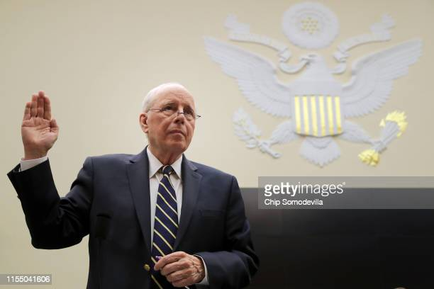 Former Chief White House Counsel John Dean is sworn in before testifying about the Mueller Report to the House Judiciary Committee in the Rayburn...