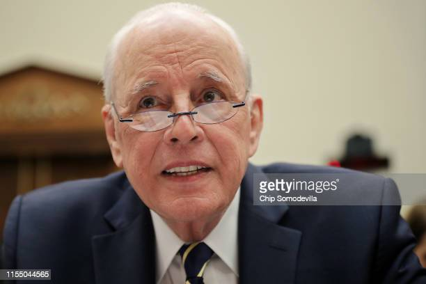 Former Chief White House Counsel John Dean prepares to testify about the Mueller Report before the House Judiciary Committee in the Rayburn House...