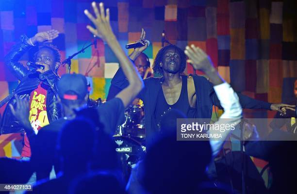 Former child soldier in the South Sudan war for Independence from Khartoum now international music icon Emmanuel Jal performs on April 10 2014 with...