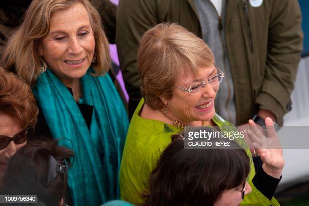 Former Chilean President Michelle Bachelet arrives for the inauguration of her Horizonte Ciudadano Foundation in Santiago on August 2 2018 The...