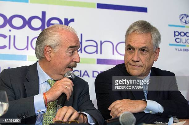 Former Chilean President Sebastian Pinera and his Colombian counterpart Andres Pastrana take part in a press conference within the Citizen Congress...