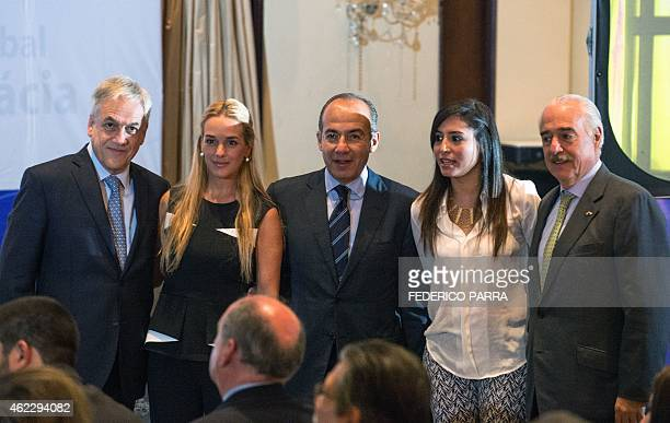 Former Chilean President Sebastian Pinera Mexican Felipe Calderon and Colombian Andres Pastrana pose for a picture with Lilian Tintori the wife of...