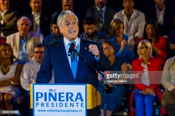 Former Chilean President Sebastián Piñera gives a speech after being proclaimed presidential candidate by rightwing parties for the 2017 Chilean...