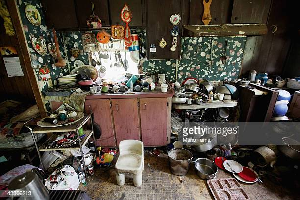 Former chimney sweeper Mose Noble's kitchen is seen in Owsley County on April 21 2012 in Booneville Kentucky Noble is no longer employed but does...