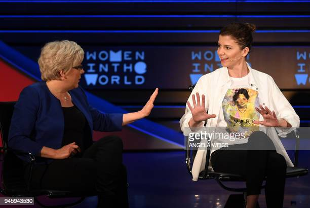 Former China Editor for the BBC Carrie Gracie and Tabula Media Founder Georgia Tamara Chergoleishvili speak onstage at the Women of the World Summit...