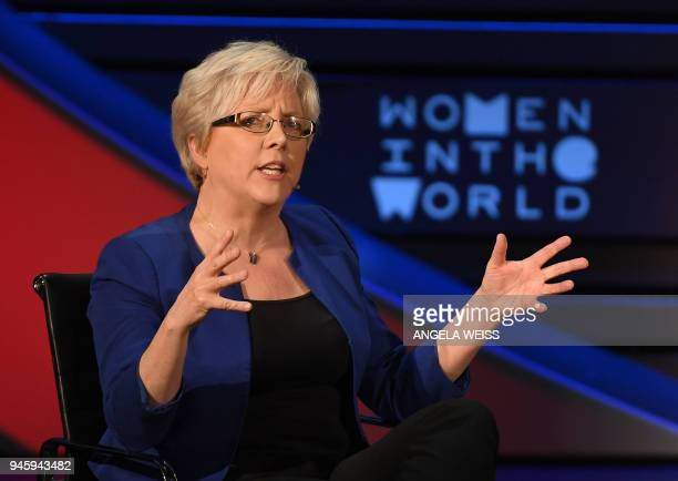 Former China Editor for the BBC Carrie Gracie speaks onstage at the Women of the World Summit on April 13 2018 in New York City / AFP PHOTO / ANGELA...