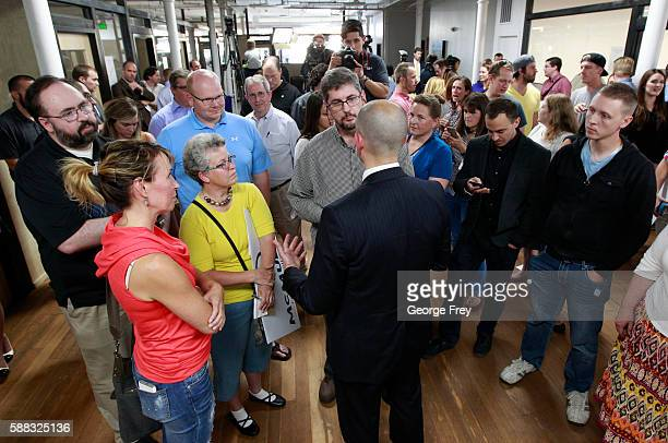 Former CIA agent Evan McMullin talks to supporters after announcing his presidential campaign as an Independent candidate on August 10 2016 in Salt...
