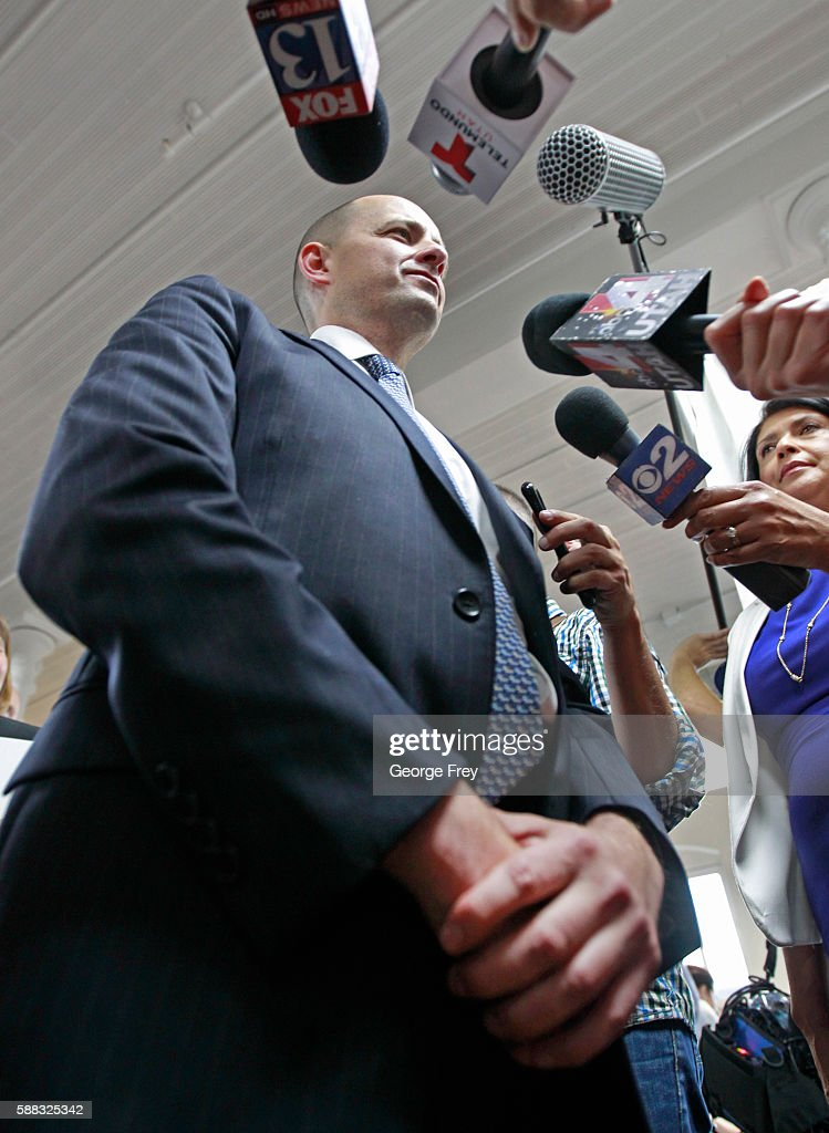 Former CIA agent Evan McMullin talks to to the media after announcing his presidential campaign as an Independent candidate on August 10, 2016 in Salt Lake City, Utah. Supporters gathered in downtown Salt Lake City for the launch of his Utah petition drive to collect the 1000 signatures McMullin needs to qualify for the presidential ballot.