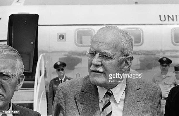 Former CIA Director Allen W Dulles is shown just before he left Andrews Air Force Base for Mississippi today Prior to departure Dulles and Attorney...