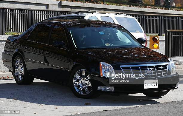 Former CIA Director David Patraeus leaves the US Capitol in a black Limousine after appearing at closed door meetings about ongoing intelligence...