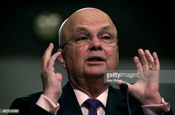 Former CIA Director Gen Michael Hayden testifies during a hearing before Senate Armed Services Committee August 4 2015 on Capitol Hill in Washington...