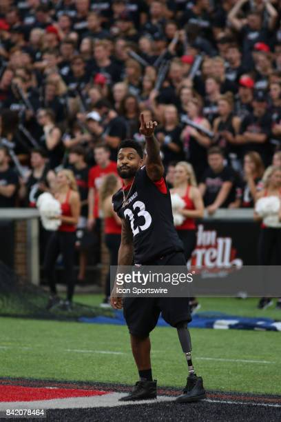 Former Cincinnati Bearcats and NFL running back Isaiah Pead is introduced during the game against the Austin Peay Governors and the Cincinnati...