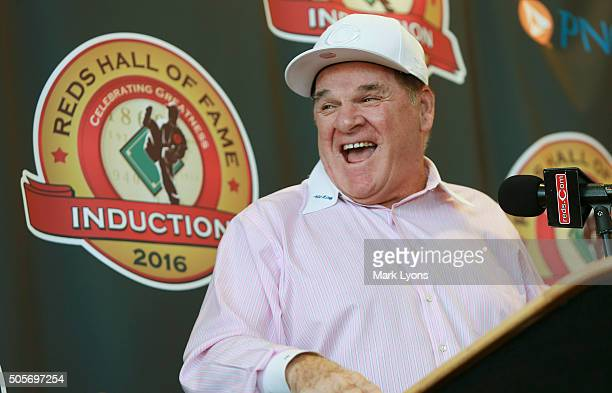 Former Cincinnati Reds player Pete Rose laughs during a press conference at the Champions Club at Great American Ball Park on January 19 2016 in...