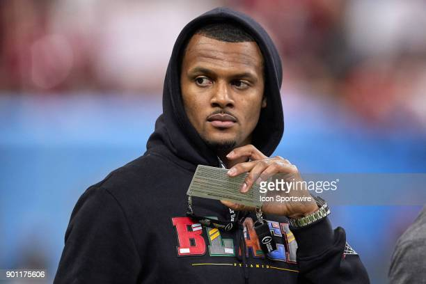 Former Clemson Tigers quarterback and current NFL Huston Texans quarterback Deshaun Watson is seen watching the game from the Clemson Tigers...