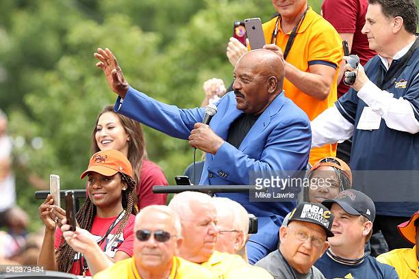 Former Cleveland Brown and NFL hall of famer Jim Brown waves during the Cleveland Cavaliers 2016 NBA Championship victory parade and rally on June 22...