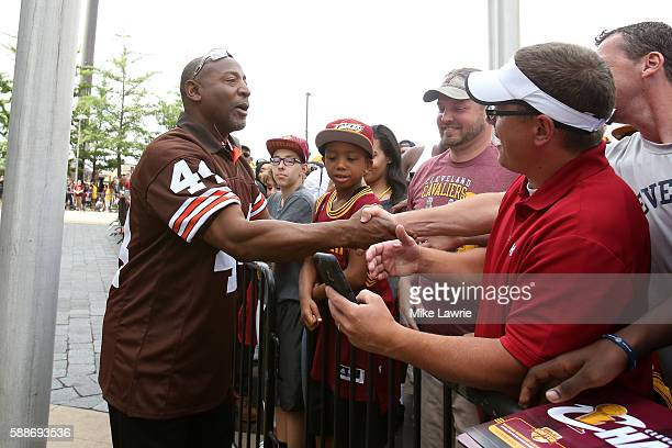 Former Cleveland Browns player Earnest Byner greets fans during the Cleveland Cavaliers 2016 NBA Championship victory parade and rally on June 22...