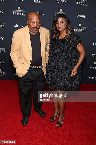 Former Cleveland Browns running back Jim Brown and Monique Brown attend the 2015 NFL Honors at Phoenix Convention Center on January 31 2015 in...