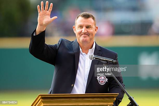 Former Cleveland Indians great Jim Thome waves to the crowd after being inducted into the Indians Hall of Fame prior to the game against the Oakland...