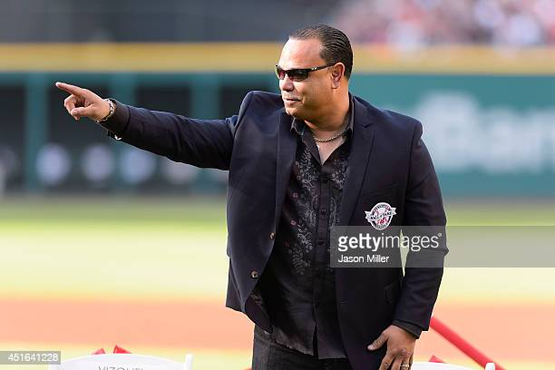 Former Cleveland Indians player and Indians Hall of Fame inductee Carlos Baerga during induction ceremonies prior to the game between the Cleveland...