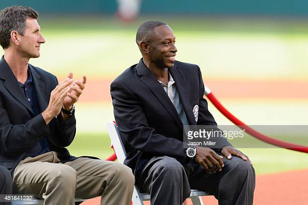 Former Cleveland Indians player and Indians Hall of Fame inductee Kenny Lofton during induction ceremonies prior to the game between the Cleveland...