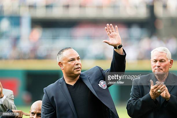 Former Cleveland Indians player Carlos Baerga during the Hall of Fame induction ceremony prior to the game against the Oakland Athletics at...
