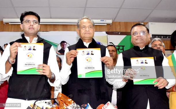 Former CM Ashok Gehlot along with State Congress president Sachin Pilot AICC General Secretary and incharge Rajasthan Avinash Pande release Congress...