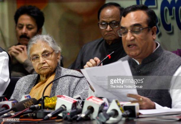 Former CM Sheila Dikshit along with Ajay Maken during a press conference against AAP in New Delhi