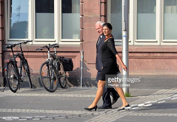 Former co chairman of German party's Die Linke Oskar Lafontaine and Sahra Wagenknecht arrive for a service of commemoration for Frank Schirrmacher at...