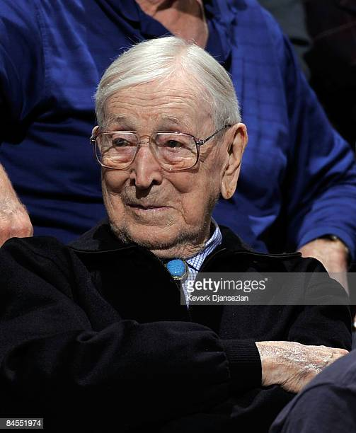 Former coach John Wooden of the UCLA Bruins watches as the Bruins take on the University of California Golden Bears at Pauley Pavilion January 29...