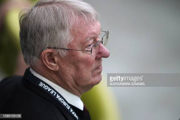 Former coach of Manchester United Sir Alex Ferguson looks on before the UEFA Europa League final football match between Villarreal and Manchester...
