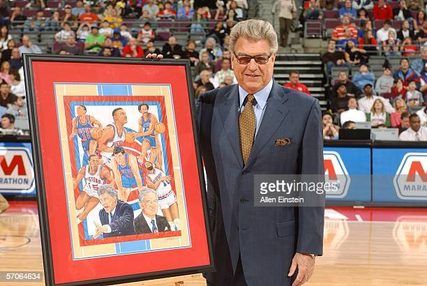 Former coach of the Detroit Pistons Chuck Daly is honored during halftime of a game between the Detroit Pistons and the Charlotte Bobcats March 12...