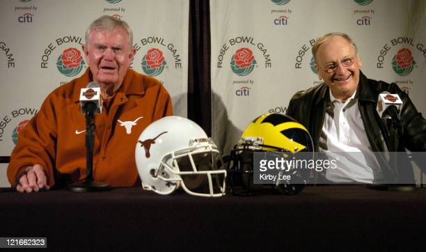Former coaches Darrell Royal of Texas and Bo Schembechler of Michigan at 2005 Rose Bowl Media Day at the Home Depot Center in Carson, Calif. On...