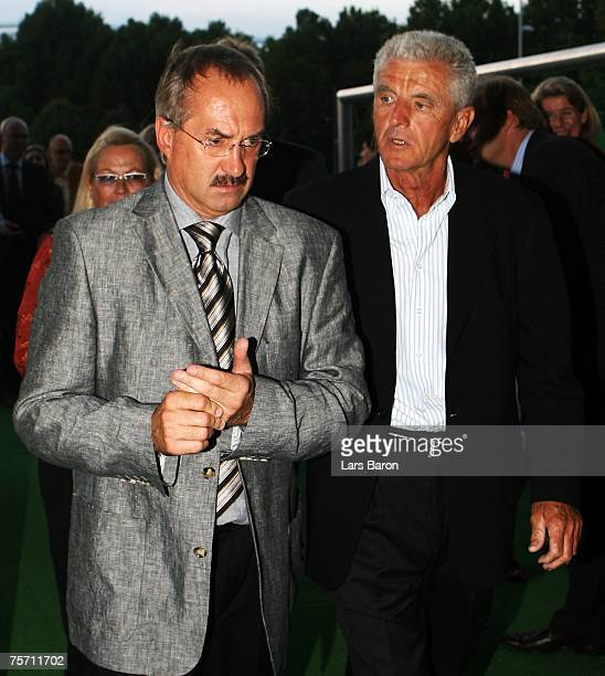 Former coaches of german Nationalteam Ulli Stielike and Erich Ribbeck are seen prior to Hansi Muellers 50th birthday and 25th anniversary of the...